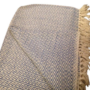 blue and white zigzag throw