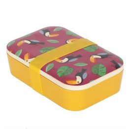 Toucan Yellow and Purple Bamboo Lunchbox