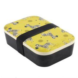 Zebra Black and Yellow Bamboo Lunchbox