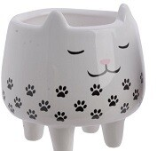 Black White Cat Plant Pot