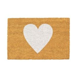 White Heart Coir Door Mat