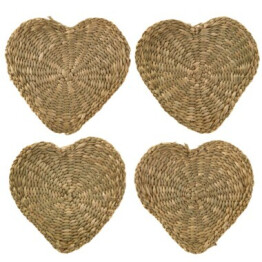 Set of 4 Heart Seagrass Coasters