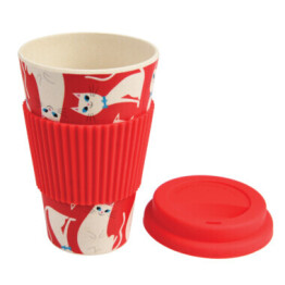 White REd Travel Cup