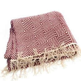 Cotton Rug Throw Dark Red