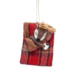 Deer in a Tartan Sleeping Bag Decoration
