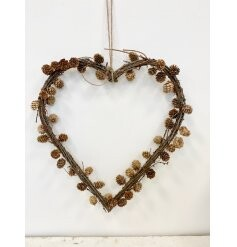 Natural Pine and Twig Heart Wreath