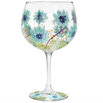 Hand Painted Blue Gerbera Copa Gin Glass