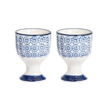 Set of 2 Navy and White Egg Cups