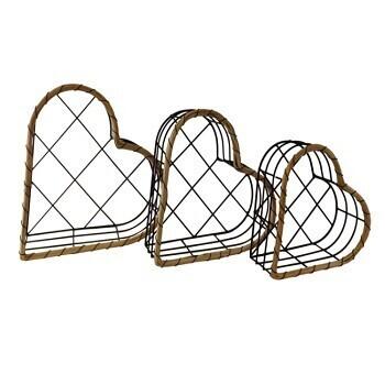 Set of 3 Black Wire Heart Baskets
